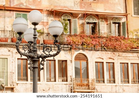 Beautiful old building on historical Piazza delle Erbe, Verona, Italy - stock photo