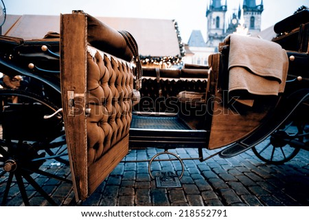 Beautiful old carriage for turists - Prague - stock photo