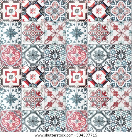 Beautiful old ceramic tiles patterns in the park public. - stock photo