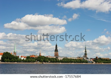 Beautiful old city view (Daugava riverbank, Riga, Latvia) - stock photo