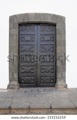 Beautiful old door in town Teguise, Lanzarote island, Spain - stock photo