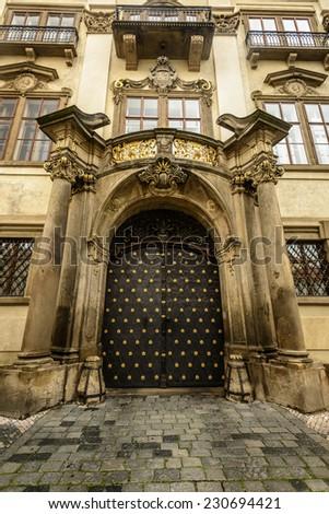 Beautiful old entrance door in Prague,Czech Republic. - stock photo