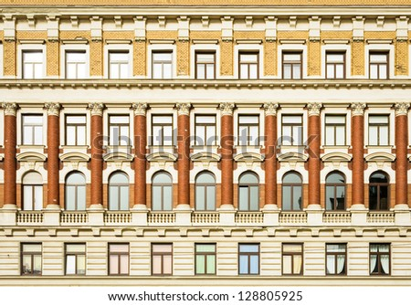beautiful old facade at a historic building - stock photo
