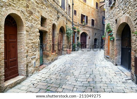 beautiful old facades at the tuscany - italy - stock photo