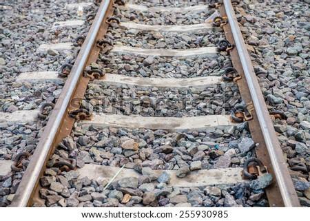 Beautiful old forgotten steel railway  - stock photo