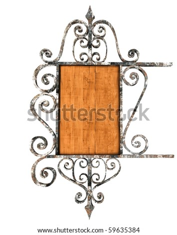 Beautiful old iron and wooden signboard. Isolated on white - stock photo