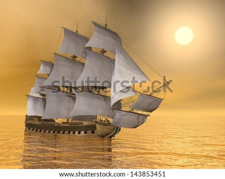 Beautiful old merchant ship floating on quiet water sunset - stock photo