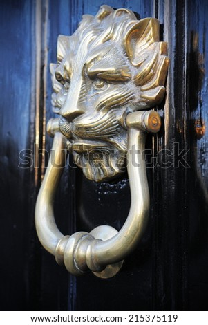 Beautiful Old Ornamental Brass Door Knocker Background - stock photo