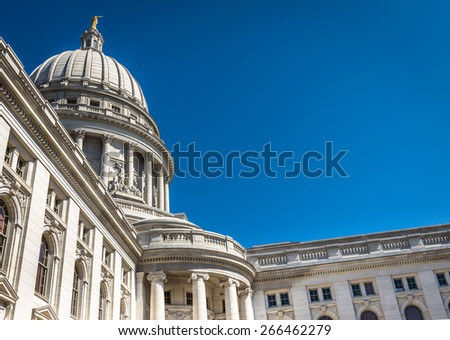 Beautiful old ornate building with bright blue sky