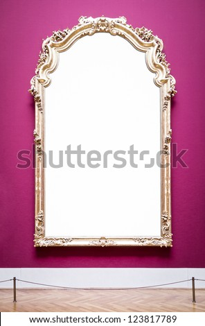 beautiful old picture frame at a museum - copy space - stock photo