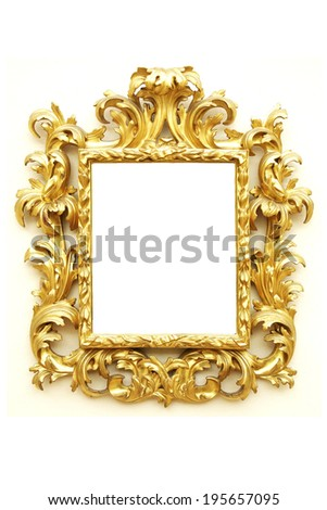 beautiful old picture frame isolated on white background