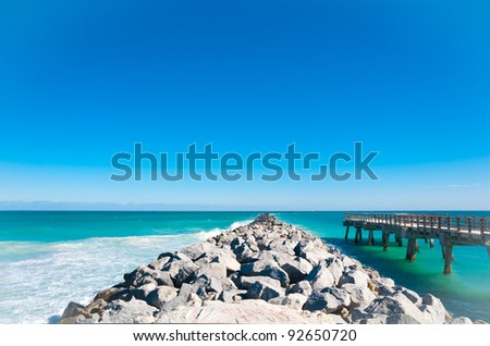 Beautiful old pier in Miami Beach, Florida - stock photo