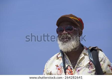 Beautiful old rasta taken on jamaican beach - stock photo