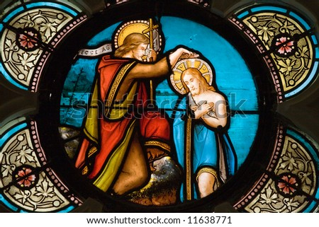 beautiful old stained glass window in gothic european church - stock photo