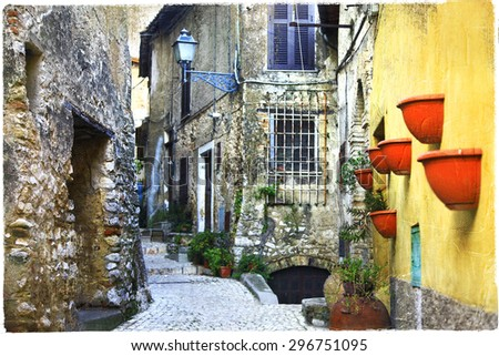 beautiful old street of medieval villages of Italy.  - stock photo