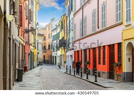 Beautiful old street with residential buildings in Parma, Emilia-Romagna region, Italy. - stock photo