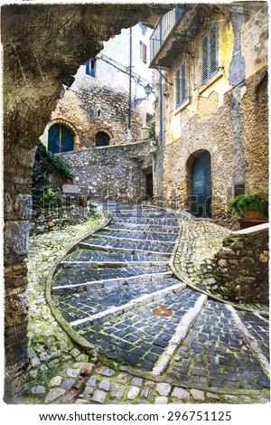 beautiful old streets of Italian villages. Casperia, Rieti provi - stock photo
