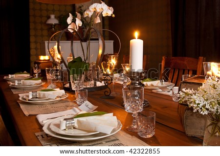 beautiful old style table setting - stock photo