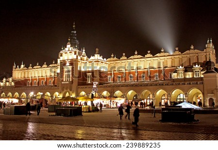 Beautiful old Sukiennice on the Krakow main square at night in the winter, Poland
