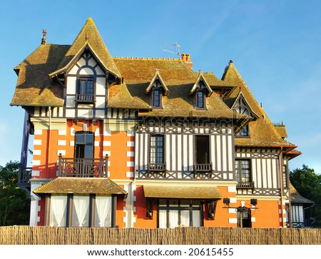 beautiful old villa on atlantic coast of France - stock photo