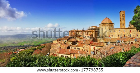 beautiful old Volterra - medieval town of Tuscany, Italy - stock photo