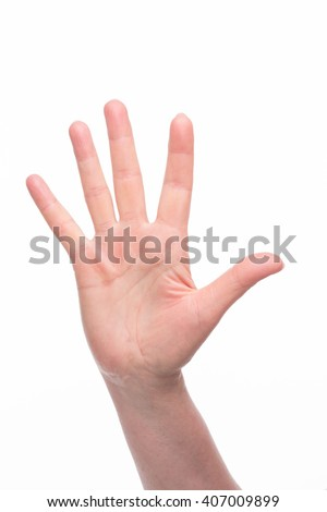 Beautiful old woman's palm with nice fingers over white background. Old woman demonstrating five ideas for business.