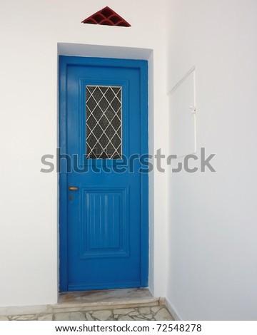 beautiful old wooden blue door - stock photo