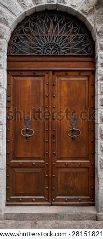 beautiful old wooden door - stock photo