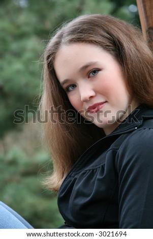 beautiful older teen/young woman - stock photo