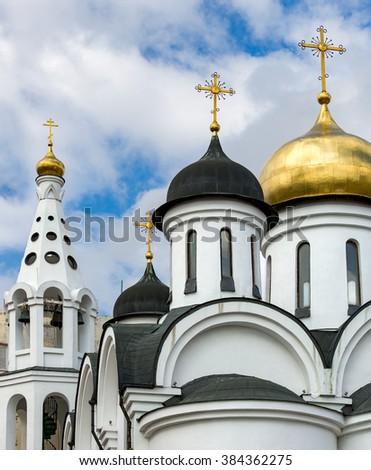 Beautiful Onion domes of Russian Orthodox Church in Havana Cuba - stock photo