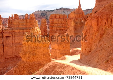 Beautiful orange spires of sandstone rock create a nature sculpted wonderland in Bryce Canyon National Park - stock photo