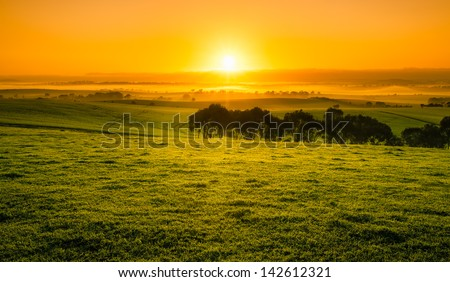 Beautiful Orange Sunrise in the Clare Valley - stock photo