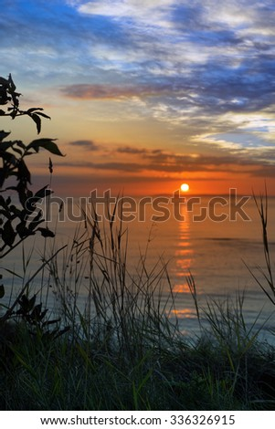 beautiful orange sunset over loop head with silhouetted wild tall grass on the wild atlantic way in ireland - stock photo