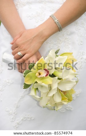 Beautiful orchid bridal bouquet - stock photo