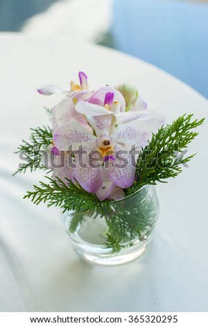 Beautiful Orchid flower decorate in glass symbolize of the warm welcome to the relaxation place - stock photo