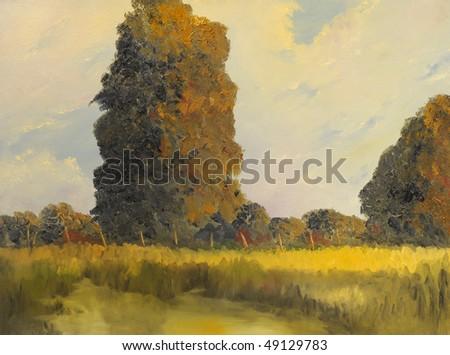 Beautiful original Landscape Oil On Canvas Painting - stock photo