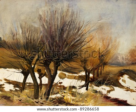 Beautiful Original Oil Painting Landscape On Canvas - stock photo