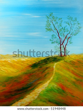 Beautiful Original Oil painting of landscape on Canvas - stock photo