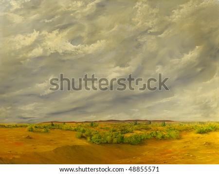 Beautiful Original Oil painting of the California Desert - stock photo