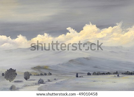 Beautiful Original oil painting of the Sierra Nevada mountain Range - stock photo