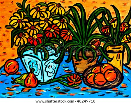 Beautiful original painting of a still life of flowers and fruit, oil on canvas