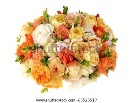 Beautiful ornamental bouquet of multicolored roses isolated on white - stock photo