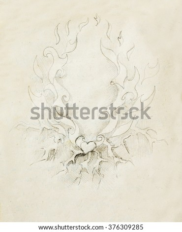 Beautiful Ornamental pencil drawing on old paper. Heart and fire with flash. - stock photo