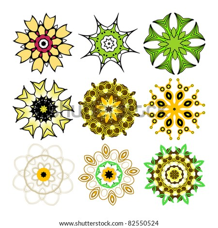 Beautiful ornamental rosettes set. For ethnic or tattoo design. Raster version. - stock photo