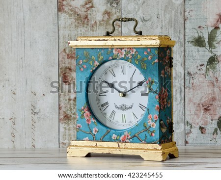Beautiful ornate handmade clock decoupaged with vintage paper
