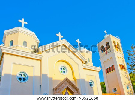 Beautiful orthodox church with bell tower in Kos island in Greece - stock photo