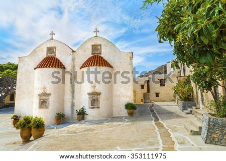 Beautiful orthodox temple in the Patriarchal Monastery of Saint John the Theologian, known as the Monastery of Preveli.District of Rethymno.Crete island.Greece.Europe. - stock photo