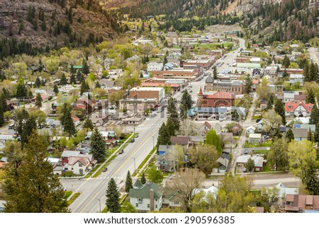 Beautiful Ouray located between high mountains