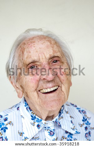 beautiful over very old german woman smiling - stock photo