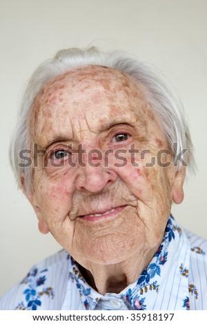 beautiful, over 90 years old german woman - stock photo